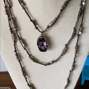 beaded & leather Uno de 50 necklace with pendant